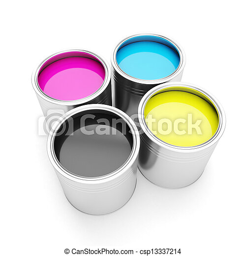 Printing technologies. CMYK colors, and four cans of paint on a white background - csp13337214