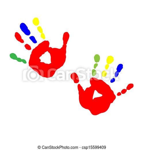 Prints of children's hands from paint - csp15599409