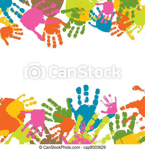 Prints of hands of the child, vector illustration - csp8003629