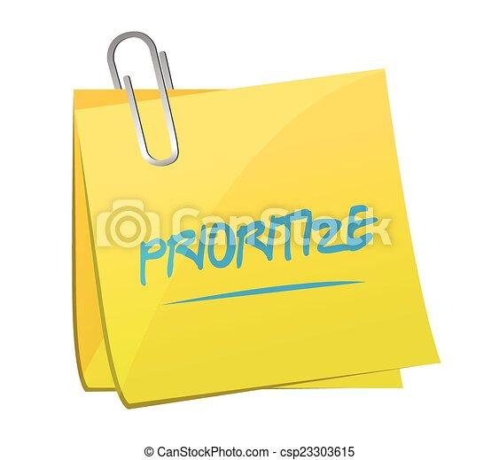 prioritize post memo illustration design - csp23303615