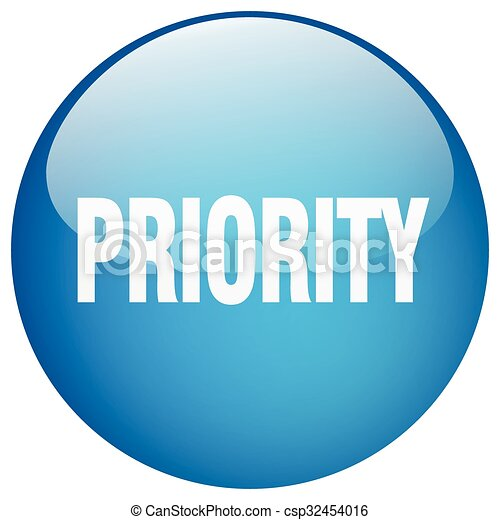 priority blue round gel isolated push button - csp32454016