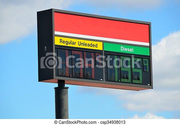 pris, bensin, underteckna - csp34938013