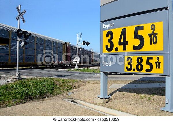 pris, station, gas, underteckna - csp8510859