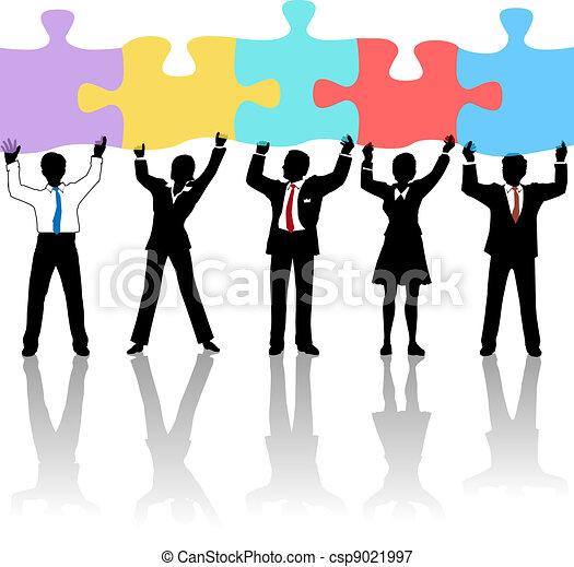 prise, affaires gens, puzzle, équipe, solution - csp9021997