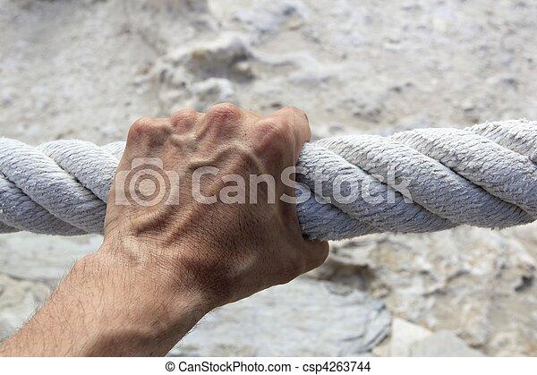 prise, fort, grande main, corde, saisir, vieilli, homme - csp4263744