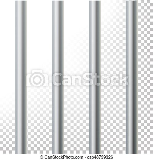 Prison Bars Isolated Vector Illustration. Transparent Background. 3D Metal Jailhouse, Prison House Grid Illustration - csp48739326
