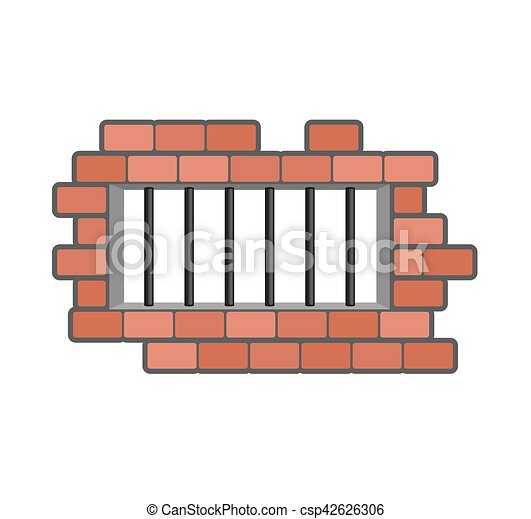 Prison grill and wall. Window in prison with bars. Jail isolated - csp42626306