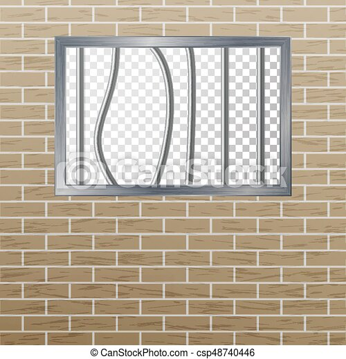 Prison Window With Bars And Brick Wall. Vector Pokey Concept. Prison Grid Isolated. - csp48740446