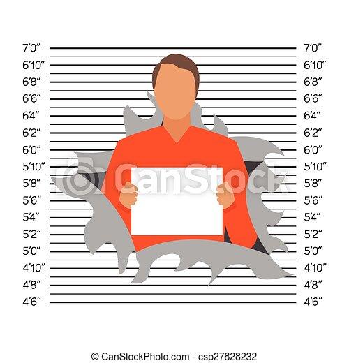 Prisoner in police lineup backdrop, illustration, vector - csp27828232