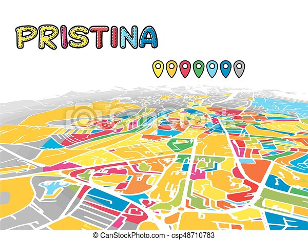 Pristina Kosovo Downtown D Vector Map Of Famous Streets - pristina map