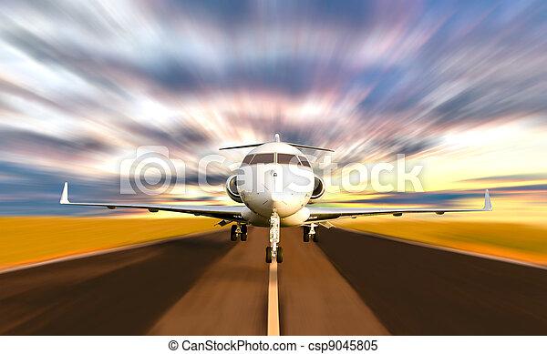 privé, brouiller mouvement, prendre, jet, fermé, avion - csp9045805