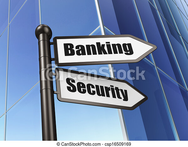 Privacy concept: Banking Security on Building background - csp16509169