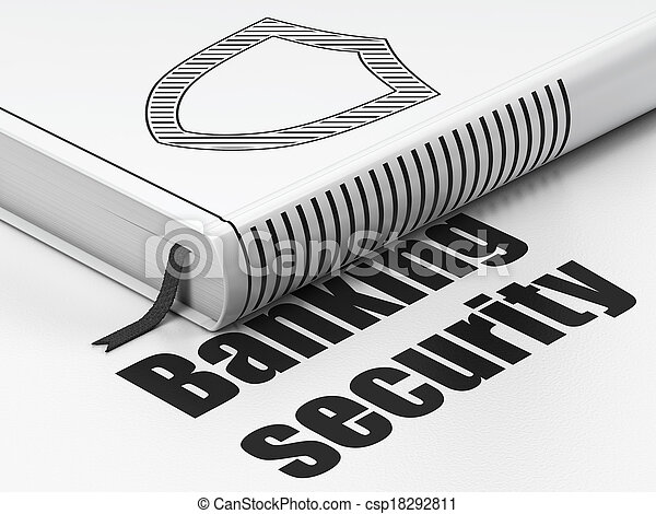 Privacy concept: book Contoured Shield, Banking Security on white background - csp18292811
