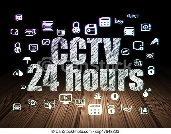 Privacy concept: CCTV 24 hours in grunge dark room - csp47649203