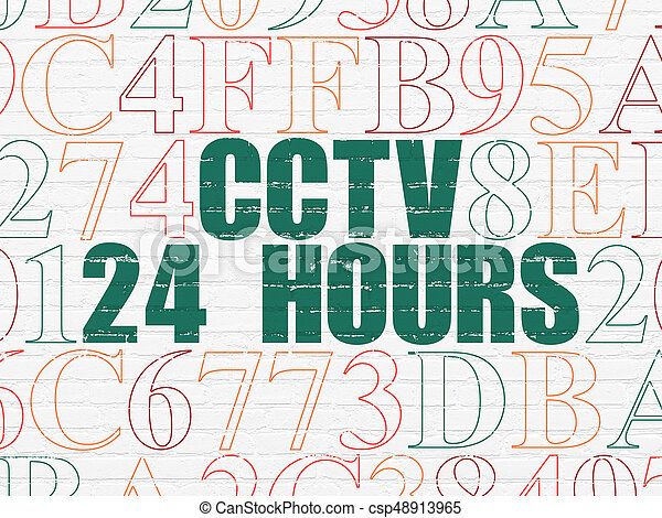 Privacy concept: CCTV 24 hours on wall background - csp48913965