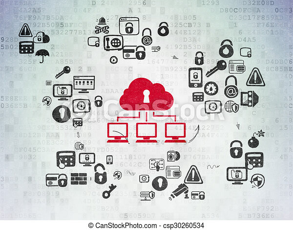 Privacy concept: Cloud Network on Digital Paper background - csp30260534