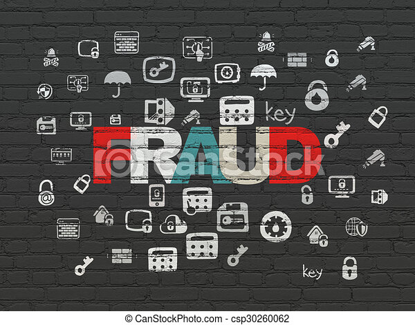 Privacy concept: Fraud on wall background - csp30260062