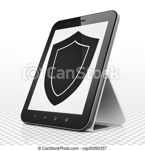 Privacy concept: Tablet Computer with Shield on display - csp30260337