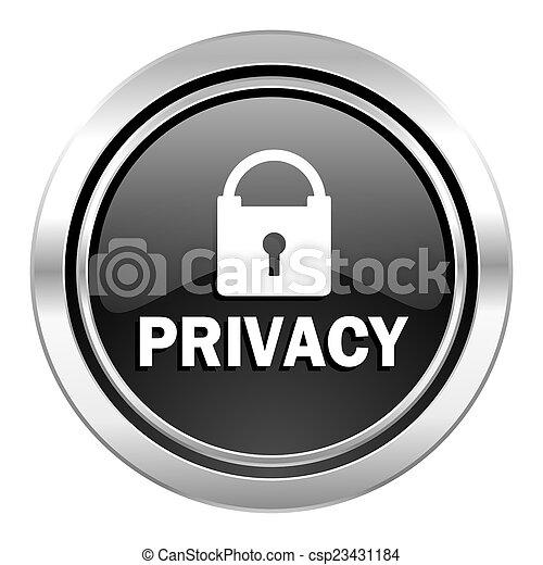 privacy icon, black chrome button - csp23431184