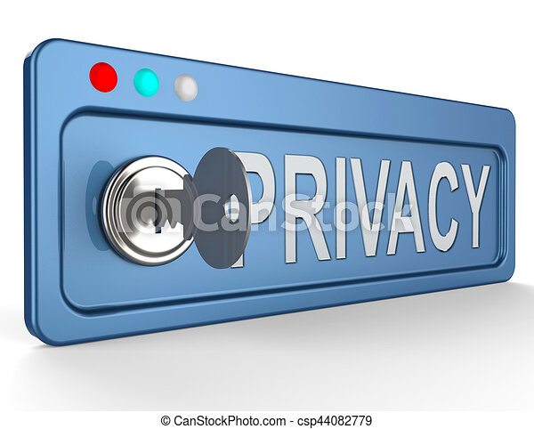 Privacy Lock Shows Protection Of Information 3d Illustration - csp44082779