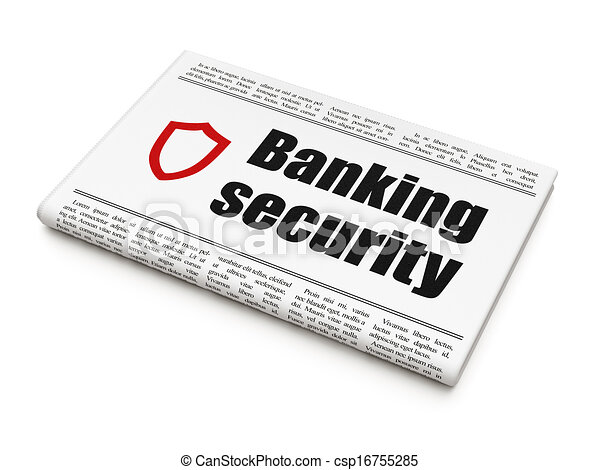 Privacy news concept: newspaper with Banking Security and Contoured Shield - csp16755285