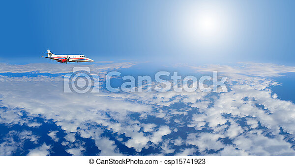 Private airplane inflight in the sky - csp15741923