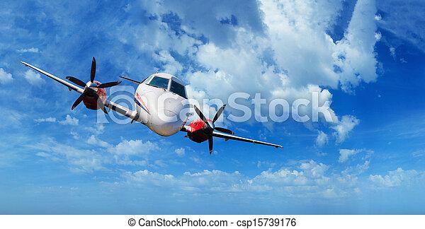 Private airplane inflight - csp15739176