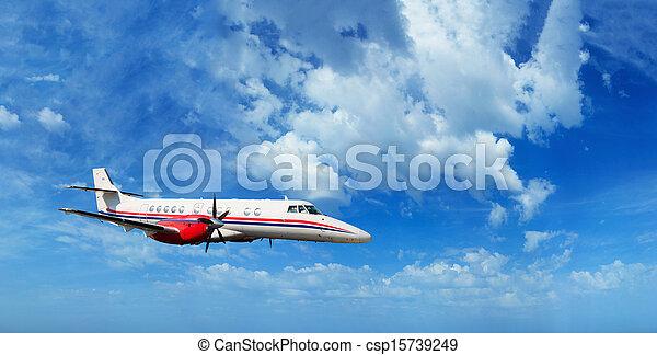 Private airplane inflight - csp15739249