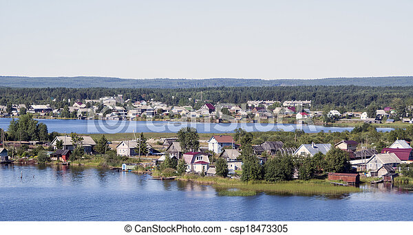 Private houses of suburbs on a lake - csp18473305