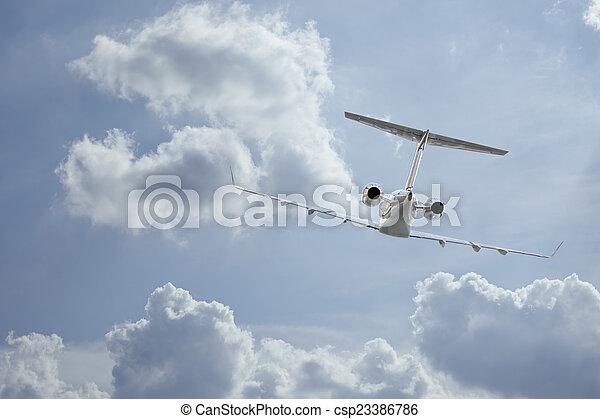 Private Jet inflight - csp23386786