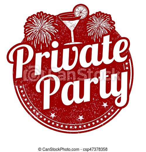 private party sign or stamp on white background vector illustration