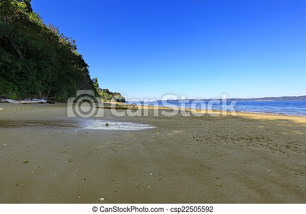 Private sandy beach in Federal Way, Washington state - csp22505592