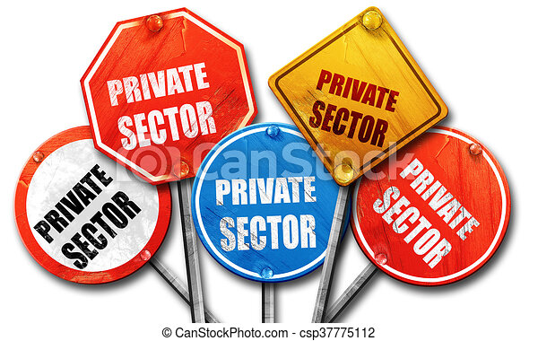 private sector, 3D rendering, rough street sign collection - csp37775112