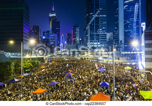 Pro-democracy protest in Hong Kong 2014 - csp22384507