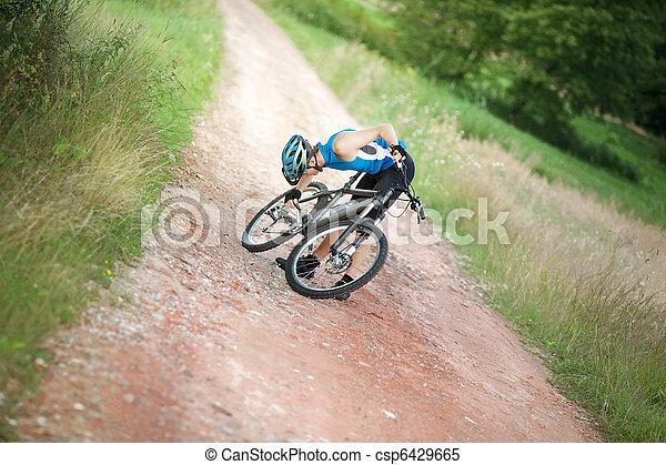 probleem, fietser, ketting, hebben - csp6429665