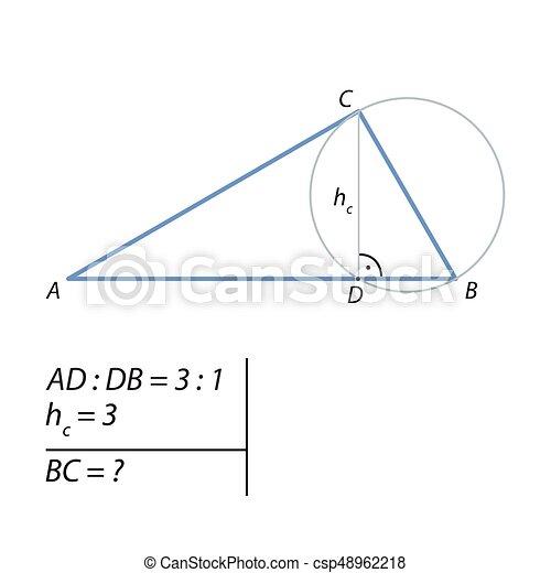 probleem, rechts, driehoek, bovenkant, het berekenen. bevinding