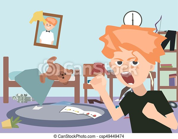 problem child at messy kids room cartoon - csp49449474