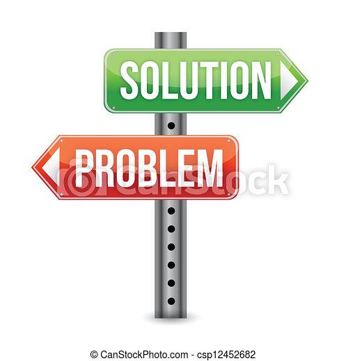 problem solution road sign illustra - csp12452682