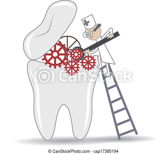 Procedimiento de tratamiento de dientes abstractos, ilustración conceptual dental - csp17385194
