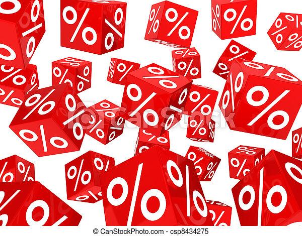 procent, rood, blokje, verkoop - csp8434275