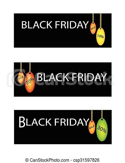 procentsatser, fredag, försäljning, etikett, rabatt, svart - csp31597826