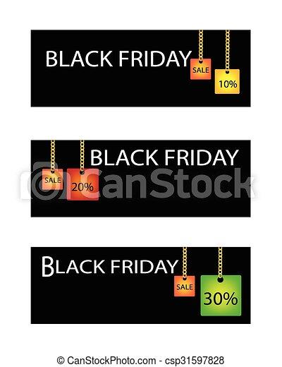 procentsatser, fredag, försäljning, etikett, rabatt, svart - csp31597828