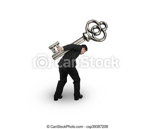 El hombre que lleva la llave del tesoro - csp39387208