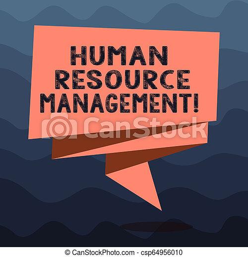 Escribiendo nota mostrando la gestión de recursos del huanalisis. La foto de negocios muestra el proceso de contratación y el desarrollo de empleados doblado cinta 3D desnuda de colores sólidos foto de banda en blanco para la celebración. - csp64956010