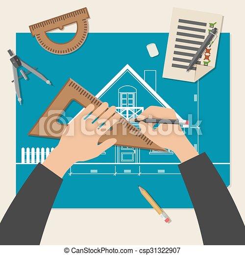 Proceso de diseñar la casa. - csp31322907