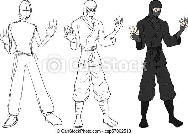 Proceso ninja dibuja - csp57002513