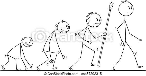 Caricatura del proceso de evolución humana - csp57392315
