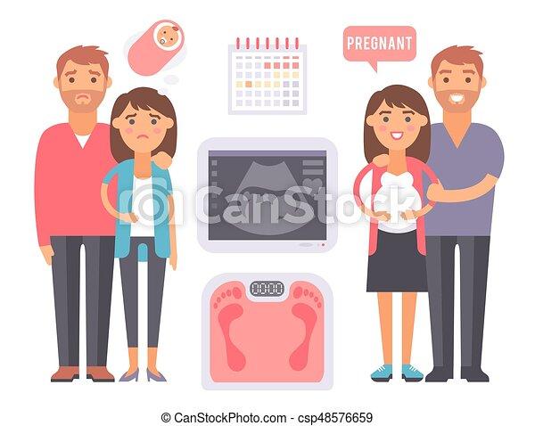 Los problemas de embarazo de infertilidad en el vector de maternidad médica señalan que la fertilización procesa herramientas fotográficas - csp48576659
