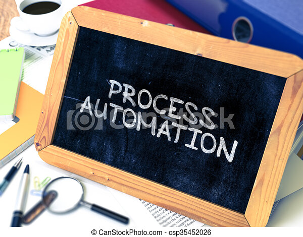 Process Automation Handwritten by White Chalk on a Blackboard. - csp35452026