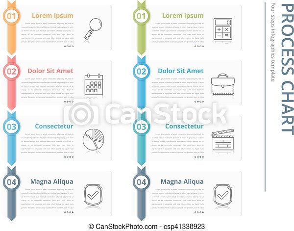 Vertical Process Chart Flow Chart Template Infographics  Vector